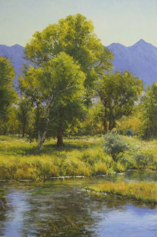 """Creekside Cottonwood"" 36x24. Pastel."
