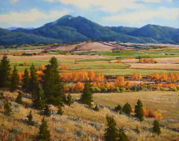 """""""Gallatin Valley in Gold"""" 24x30, Pastel"""