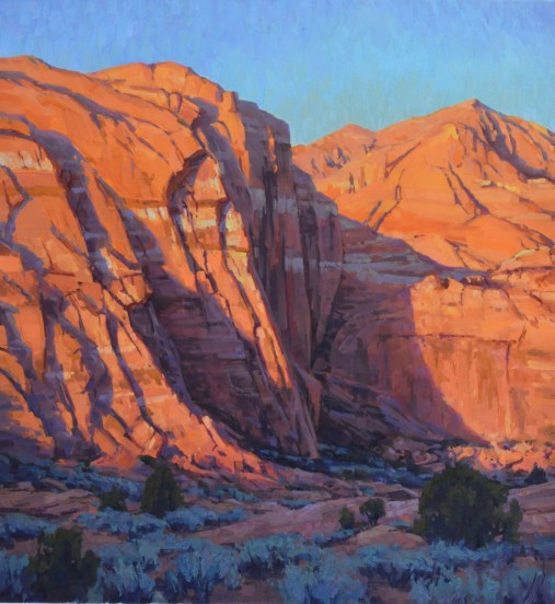 """Snow Canyon at Sunrise"" 30x28, Oil."