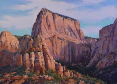 """""""The Towers of Kolab"""" 13x17, pastel."""