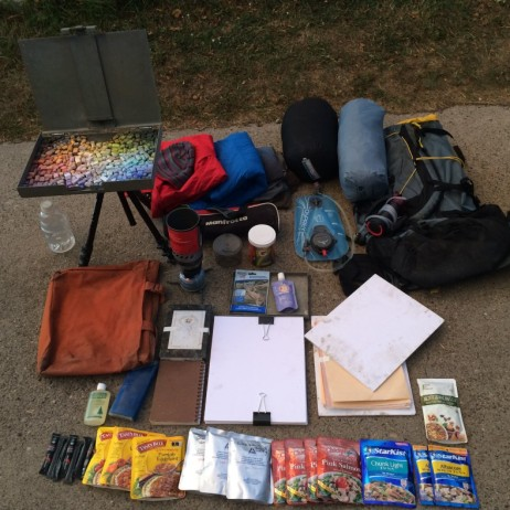 My gear for the six day trek. Not pictured are lunch and breakfast food.