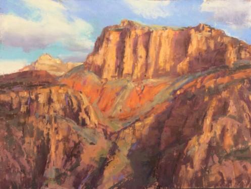 """""""Mile 14: Colorado Cliffs"""" 11x14, pastel."""