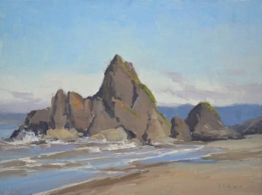 """""""Ruby Beach"""" 9x12, oil. $550"""