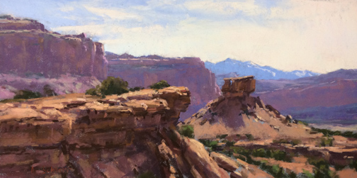 """The Layers of Capital Reef"" 8x16, pastel"